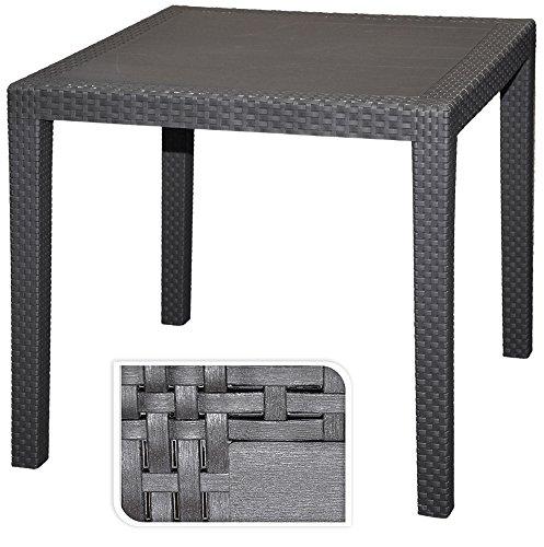Gartentisch Rattan Optik Tisch schwarz 79 x 79 cm Bistrotisch Beistelltisch incl. Schirmloch
