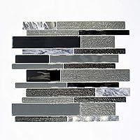 Fliesen Mosaik Mosaikfliese Weiß Grau Glas Stein glänzend Küche Bad 8mm #K948