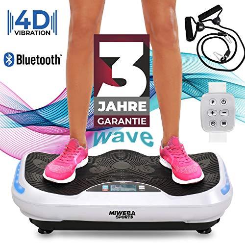 Miweba Sports Fitness 4D Wave Vibrationsplatte MV300-3 Jahre Garantie - Armband Fernbedienung - Wave Design - 800 Watt - Bluetooth Lautsprecher - Trainingsbänder - Led - große Trittfläche (Weiß)