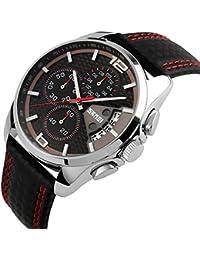 Reloj iWatch para hombre con correa de cuero, resistente al agua hasta 30m, analógico, movimiento de cuarzo, calendario, cronómetro, diseño deportivo con segundero y detalles en rojo