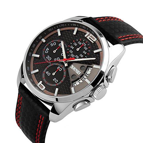 iWatch Hombre Reloj de pulsera 30m Resistente al agua banda de cuero analógico de cuarzo calendario cronómetro reloj deportivo con rojo Gauge de aguja