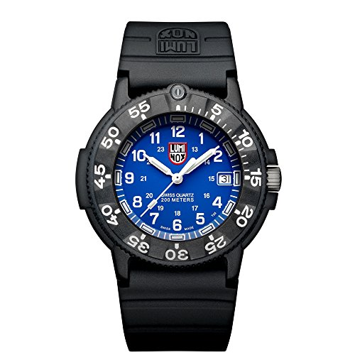 Luminox Original Navy SEAL  Men's Quartz watch with Blue dial featuring LLT Luminox light Technology 43 millimeters Carbon Compound case and Black PU Strap  XS.3003