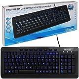 Grundig USB-Tastatur mit Beleuchtung schwarz Multimedia Hotkeys flach PC kabelgebunden beleuchtet Computertastatur für Windows & Mac AZERTY