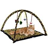 Alfombra / cucha de juegos para gatos, plegable, juguetes colgando, varios colores