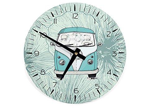STINKSANDSTANKS Wanduhr Uhr Bus Bulli Auto Wohnmobil Küchenuhr WU029 (Wanduhr rund: 21 cm)