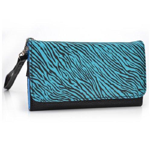 Apple Iphone 3g-zebra (Kroo esamwlb1Epi-Slim Clutch Wallet Schutzhülle aus Leder für Smartphone, Black with Blue and Black Zebra Stripes, Up to 4 Inch)