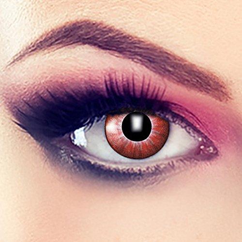 Taffstyle® Farbige Linsen crazy Fun Halloween Karneval Kostüm Kontaktlinsen Motivlinsen 3 Monatslinsen ohne Stärke - Orange Wolf