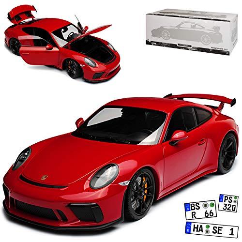 Minichamps Porsche 911 991 GT3 Coupe Dunkel Rot Ab 2013 limitiert 666 Stück 1/18 Modell Auto mit individiuellem Wunschkennzeichen