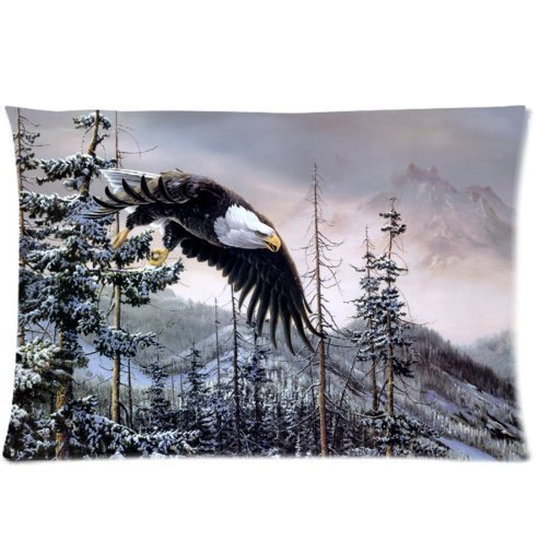 Mina-Shop mountain winter bald eagle Two-Side Polyester Pillowcase 20x30 Inch