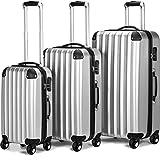 Juego 3 maletas rigidas color plateado Trolleys Set equipaje 3 piezas mango telescópico de aluminio