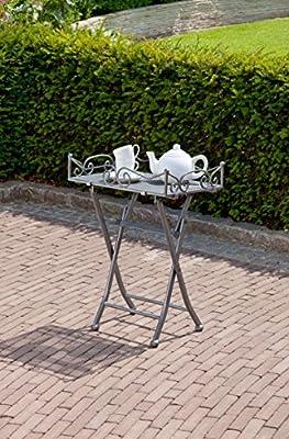 greemotion Beistelltisch Toulouse in Eisengrau, leichter Terrassentisch in edlem Design, Gartentisch mit praktischen Stellfüßen, Bistrotisch mit abnehmbarem Tablett von greemotion auf Gartenmöbel von Du und Dein Garten
