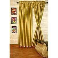 yellow-olive finta seta raso Dupioni tende, scelta di pezzi di larghezza e lunghezza Choice senza fodera di Zappycart., 78