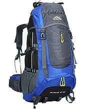 LMR senderismo mochila al aire libre 60L&65+5L impermeable al aire libre deporte camping Bolsa para deportes al aire libre escalada Mountaineer Macutos de senderismo (Azul)