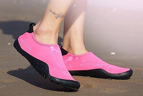 NEOKER Uomo Donna Scarpe da Immersione da Scoglio Scarpette da Bagno Mare Spiaggia Yoga Asciugatura Veloce Ragazzi Scarpe Nero Blu Rosa 36-45 Rosa