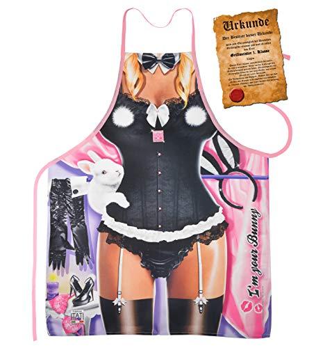 Kostüm Bunny Billig - Mega Sexy Küchenschürze Kochschürze Schürze mit Gratis Urkunde - I'm your Bunny - sexy Scherzartikel Geschenk Geschenkidee Funartikel