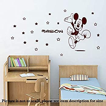 Personalisierte Disney Mickey Mouse abnehmbare Vinyl Wandaufkleber Wandbild jungen Kinderzimmer Wandtattoo 20 Sterne Home Decor D2