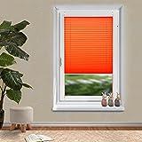 OUBO Plissee Klemmfix Fensterrollo verspannt Jalousie ohne Bohren Orangerot 105 x 200 cm