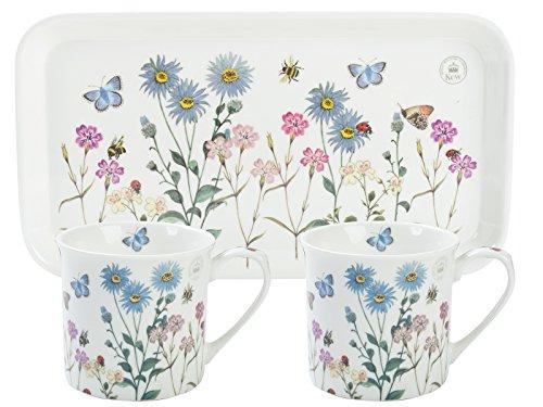 Royal Botanical Gardens Kew Gärten Tee für Zwei Geschenk-Set, weiß, 3-teilig, Keramik, weiß, 16.8 x 30.5 x 9.5 cm Garten Tee-set