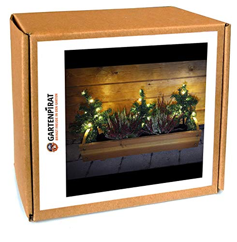 3x Mini-Weihnachtsbaum Tanne mit LED beleuchtet außen Deko Blumenkasten Weihnachten von Gartenpirat® -