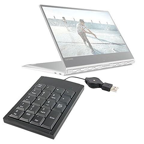 DURAGADGET Pavé numérique USB pour Lenovo Yoga 910, Medion Erazer P6661, X6601, P7643, X7849 et Akoya S3409 ordinateurs portables - câble rétractable + rehausseur