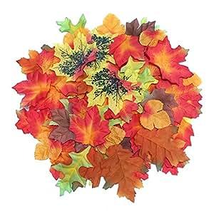 Luxbon 100pcs Feuilles d'Erable Artificielles Plante Automne Décoration Jardin Mariage Party DIY - Multicolore Taille Différente Mélangées