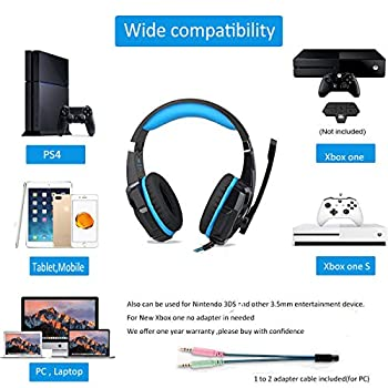 punicok G9000PS4Gaming Headset cuffie con microfono 3.5mm On Ear Surround Sound Auricolari e controllo del volume per PS4XBOX ONE PC Laptop Tablet Mobile Phones Blu.