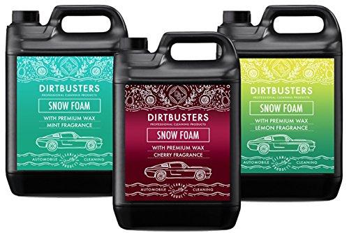 Dirtbusters Auto Schnee-Schaum, mit Duft, Zitrone, Minze und Kirsche, Shampoo-Reiniger, mit Hochglanz-Wachs, für professionelle Reinigung und Fahrzeugaufbereitung, je 5 l, 3 Stück - Reiniger Minze