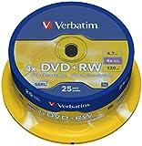 Verbatim 43489 4.7GB 4x DVD+RW - Matt Silver Spindle 25 Pack