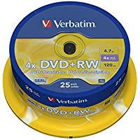Verbatim 43489 4.7GB 4x Matt Silber DVD + RW - 25 Pack Spindel