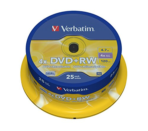 Verbatim 43489 4.7GB 4x Matt Silber DVD + RW - 25 Pack Spindel