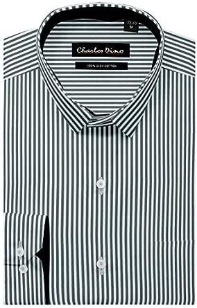 Charles Dino White and Black Striped Shirt, 100% Cotton, Reguler FIT Mens Smart Formal WEAR Shirt