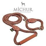 Michur Sherpa Hundeleine Brown Sugar Führleine Rund Gewebt aus Nylon Tau mit Robustem Leder verstärkt, in Verschieden Größen und Farben erhältlich.