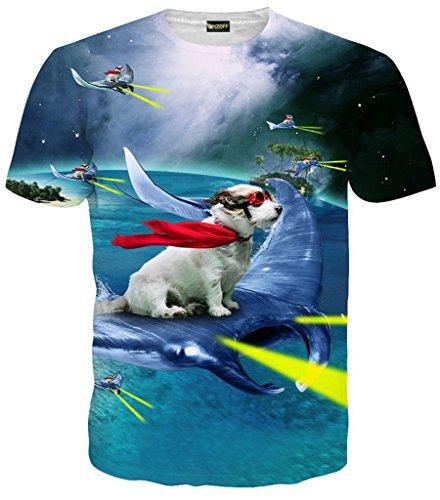 Pizoff unisex Herren T-Shirt Sommer Rundhalsausschnitt kurze Ärmel Hund Sea stingray Muster in Mode Spaß Hip Hop bequeme Tops, Y1625-88, Gr. S(EU-XS) (Neue Hund T-shirt Schwarze Tee)
