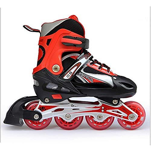YUN GAME@ Kinder verstellbare Beleuchtung Inline-Skates mit voll Hellen LED-Rädern, lustige blinkende Rollerblades für Jungen und Mädchen,Red,S