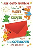 Glückwunschkarte Geldgeschenk - Sollen es Mäuse oder besser Kröten sein? - Mehrfarbig - mit Briefumschlag - Geldkarte