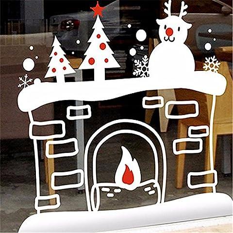 Wall stickers decorazione murale?Natale decorationsChristmas adesivo parete finestra parete di vetro adesivo , bianco + rosso , punteggiato.