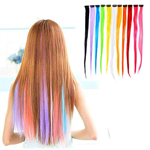 11 Stück Bunte Party-Highlights Haar-Extensions, glatt, mit Clip, Neonfarben