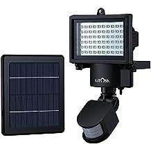 Litom Luz solar de 60 LED, Focus solar con 2 modos, Luz solar con sensor de movimiento, Lamparas solares exterior para patio, jardín, pasillo, garage
