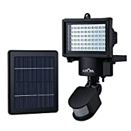 Litom 60 LED Lampe Solaire Détecteur de Mouvement, Projecteur Solaire de Sécurité Etanche pour Jardin, Patio, Chemin, Mur, Garage, Cour et Plus de secteurs extérieur
