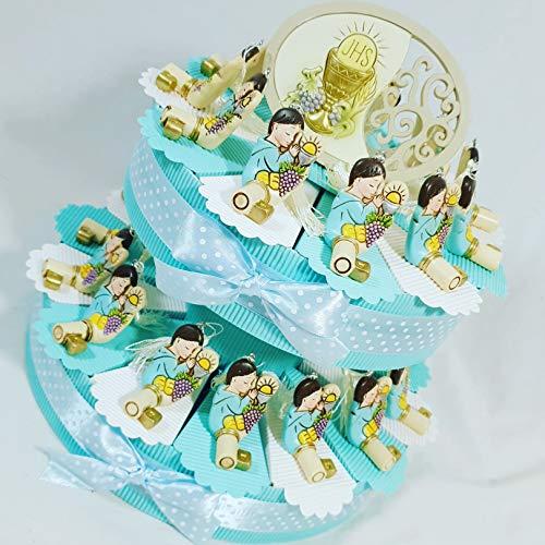 Bomboniere per comunione chiave bambino maschietto con nappina - torta da 25 fette + chiavi + centrale + confetti