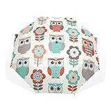 GUKENQ Reise-Regenschirm mit Eulen-Motiv, leicht, Anti-UV-Schutz, Sonnenschirm für Herren, Frauen und Kinder, Winddicht, faltbar, kompakt