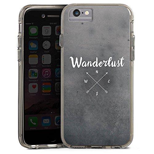 Apple iPhone 7 Plus Bumper Hülle Bumper Case Glitzer Hülle Wanderlust Kompass Reise Bumper Case transparent grau