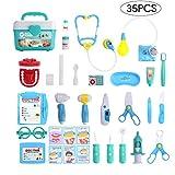 Balnore Arztkoffer Doktorkoffer Spielzeug 35 Stück Kunststoff Ungiftig Sicher ab 3 Jahre Lernspielzeug Kinderarztkoffer Arztköfferchen für Kinder