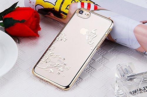 JAWSEU Coque pour iPhone 6/6S 4.7,Apple iPhone 6S Etsui Housse en Silicone Glitter,iPhone 6 Housse Ultra Mince Transparent Flexible Souple Coque Cas Soft Gel Protective Case Luxe Élégant Femme Fille A or/papillon