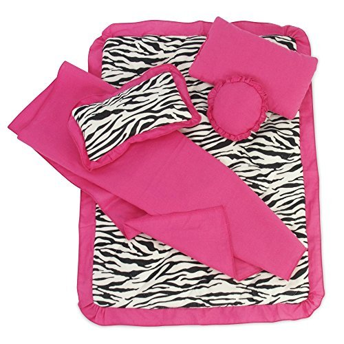 Fits 18 American Girl Dolls | Reversible Zebra Print Bedding Set with Comforter, 3 Pillows and Sheet | 18 Inch Doll Accessories by Emily Rose Doll Clothes - American Von Emily Girl