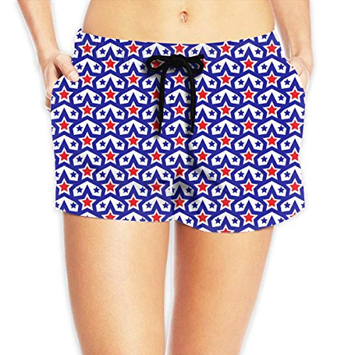 tgyew American USA Flag Pattern Women's Boardshorts Drawstring Bathing Suit,S Soft-petite Womens Drawstring Pant