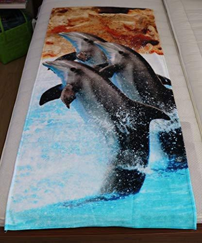 Jilda - telo da spiaggia, telo da spiaggia, telo per sauna, telo doccia, motivo: delfino, 70 x 160 cm