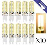 VANSUKY 10 x 5.5 W LED Leuchtmittel G9, 104 LEDs, warmweiß, SMD 3014 AC220V, 500lm Super hell mit Beam Winkel 360 Grad.