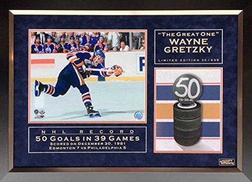 Wayne Gretzky NHL Record 50 Goals in 39 Games Ltd Ed #50/239 - Edmonton Oilers -