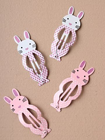 2 Packs of Bunny Rabbit 5cm Hair Sleepies Clips Hair Accessories in Pink and White